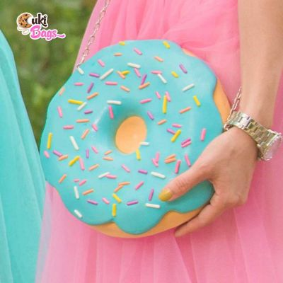 BLUE GLAZE DONUT BAG WITH RAINBOW SPRINKLES