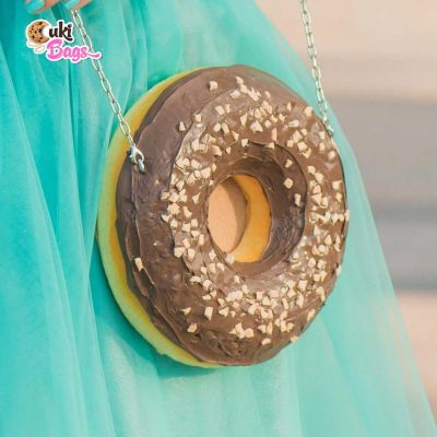 CHOCOLATE AND ALMONDS MINI DONUT PURSE