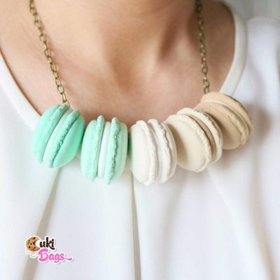 Minty Cappuccino Macarons necklace