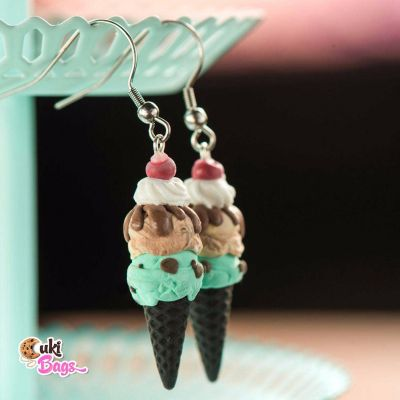 BLACK CONE ICE CREAM EARRINGS