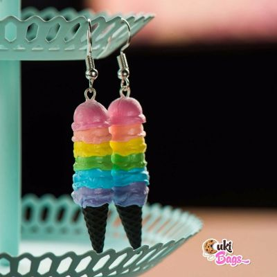 BLACK CONES 7 scoops RAINBOW ICE CREAM EARRINGS