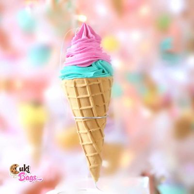 Faux Ice Cream Ornament - Pink & Teal