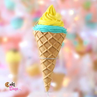 Faux Ice Cream Ornament - Yellow & Teal