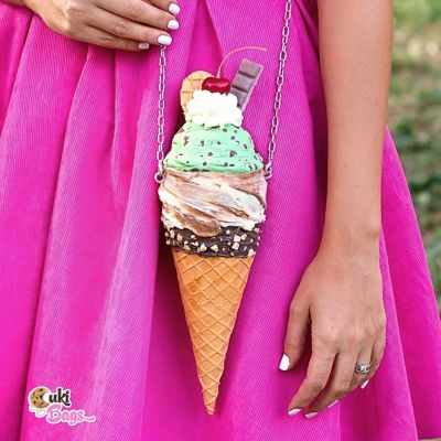 Mint  Caramel ICE CREAM CONE PURSE