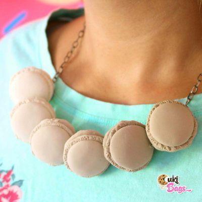 Cafe au lait macarons necklace