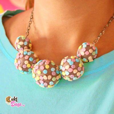 Chocolate Rainbow Funfetti Cake Pops necklace