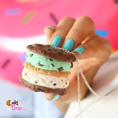 Warm cookie ice cream sandwich necklace