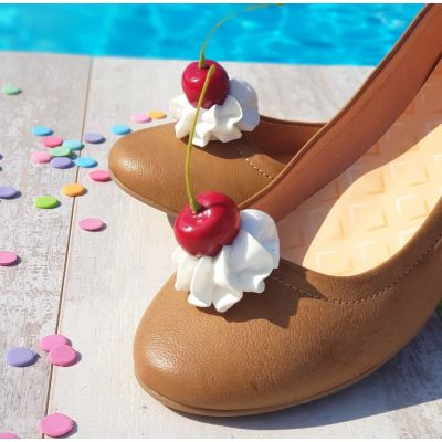 Cherry Whipped Cream SHOE CLIPS